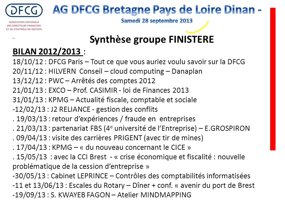 Synthèse groupe FINISTERE