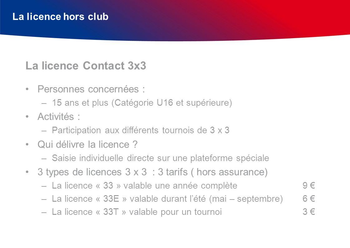 La licence Contact 3x3 La licence hors club Personnes concernées :