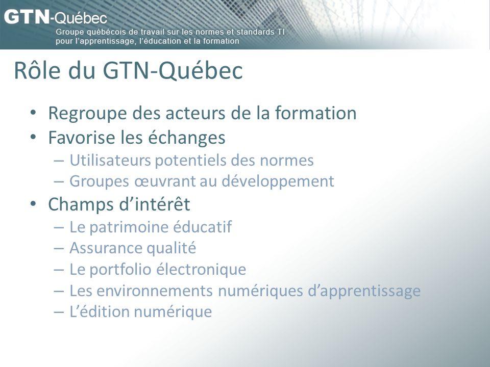 Rôle du GTN-Québec Regroupe des acteurs de la formation