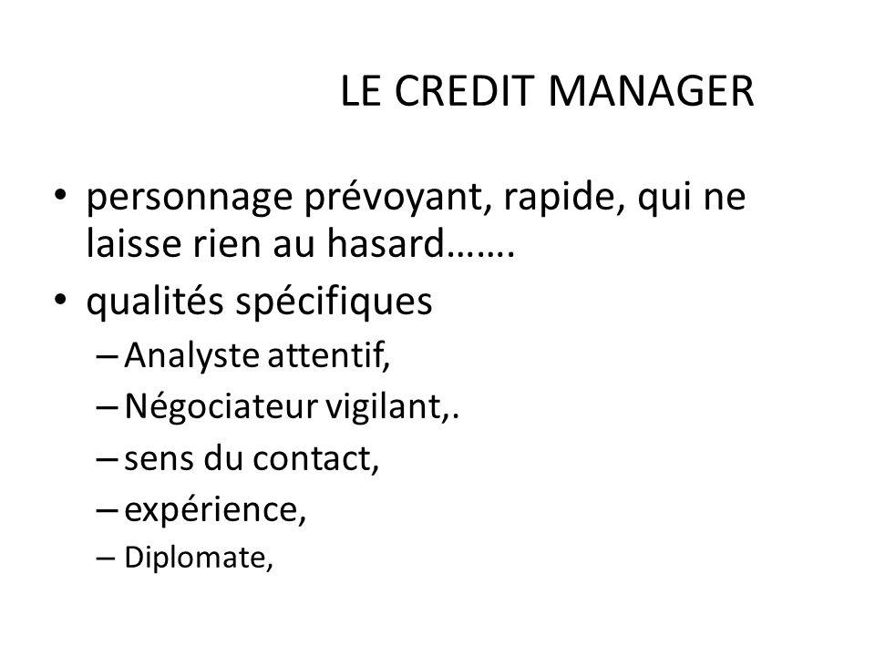 30/03/2017 LE CREDIT MANAGER. personnage prévoyant, rapide, qui ne laisse rien au hasard……. qualités spécifiques.