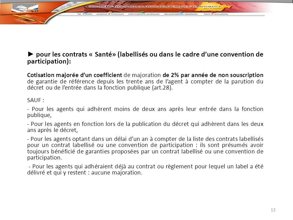 ► pour les contrats « Santé» (labellisés ou dans le cadre d'une convention de participation):
