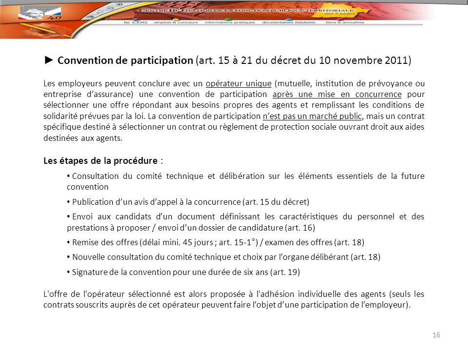 ► Convention de participation (art