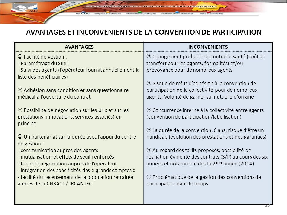 AVANTAGES ET INCONVENIENTS DE LA CONVENTION DE PARTICIPATION