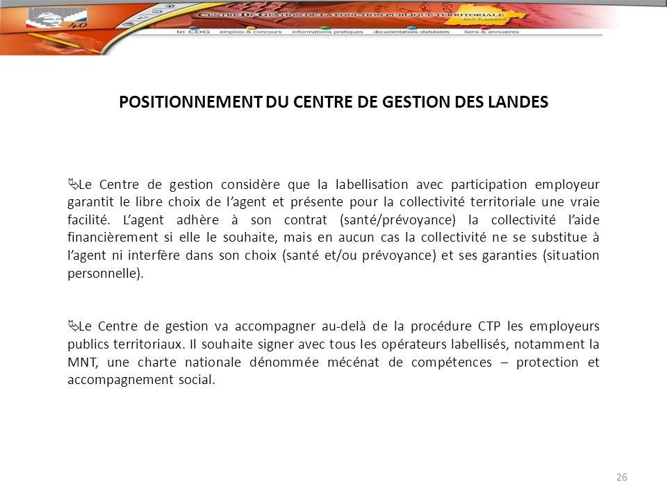 POSITIONNEMENT DU CENTRE DE GESTION DES LANDES