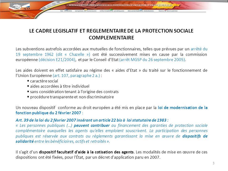 LE CADRE LEGISLATIF ET REGLEMENTAIRE DE LA PROTECTION SOCIALE COMPLEMENTAIRE