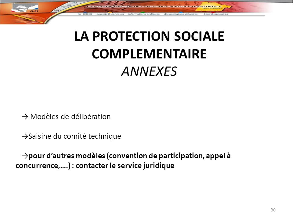 LA PROTECTION SOCIALE COMPLEMENTAIRE ANNEXES