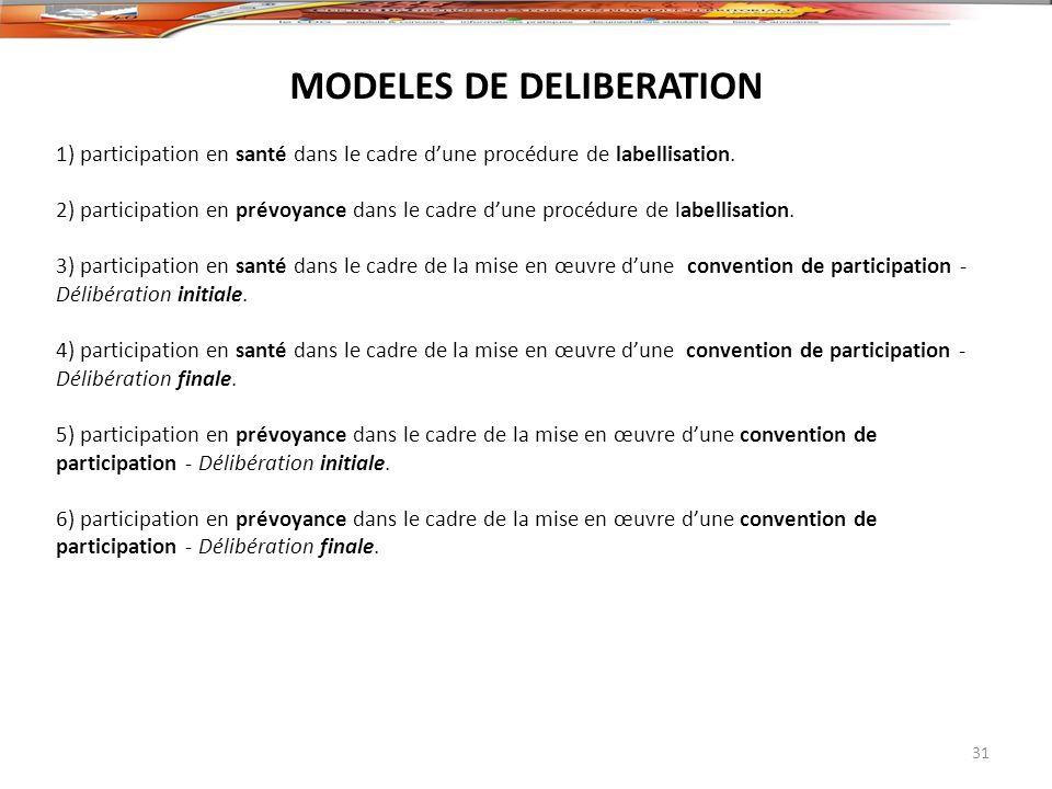 MODELES DE DELIBERATION