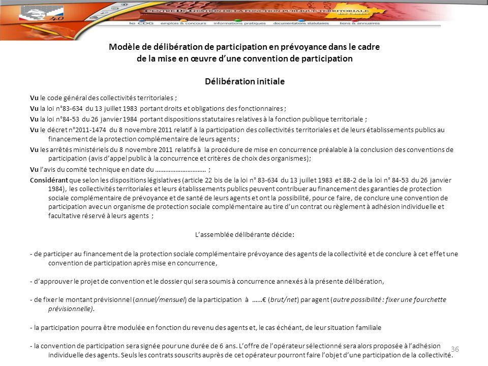 Modèle de délibération de participation en prévoyance dans le cadre de la mise en œuvre d'une convention de participation Délibération initiale
