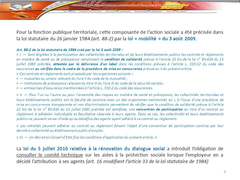 Pour la fonction publique territoriale, cette composante de l'action sociale a été précisée dans la loi statutaire du 26 janvier 1984 (art. 88-2) par la loi « mobilité » du 3 août 2009.