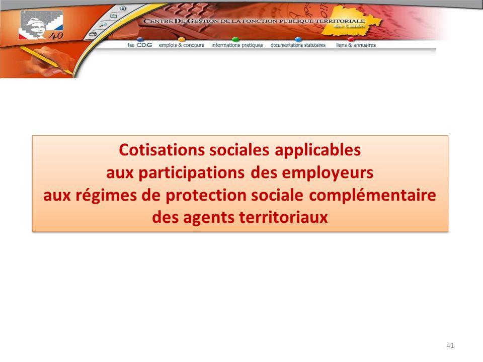 Cotisations sociales applicables aux participations des employeurs