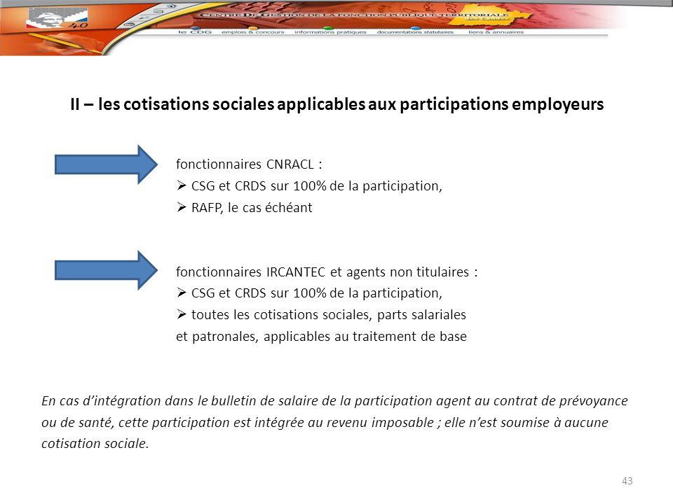II – les cotisations sociales applicables aux participations employeurs
