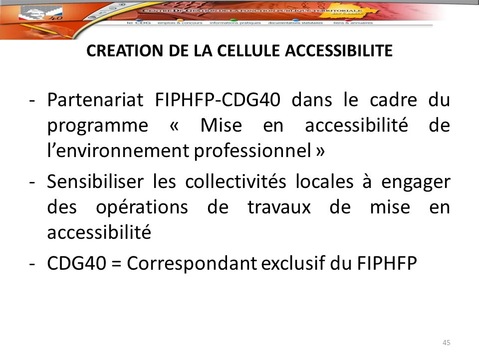 CREATION DE LA CELLULE ACCESSIBILITE