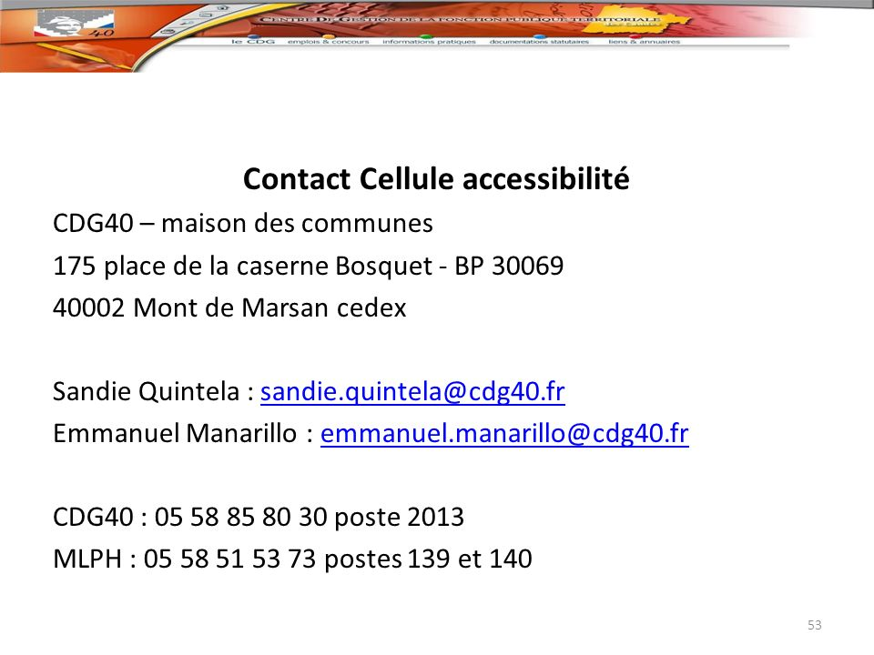 Contact Cellule accessibilité