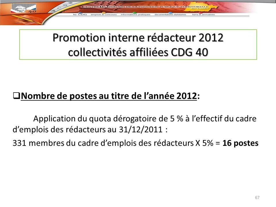 Promotion interne rédacteur 2012 collectivités affiliées CDG 40