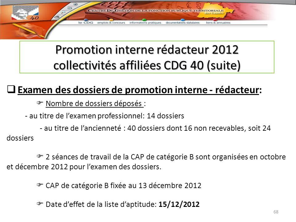 Promotion interne rédacteur 2012 collectivités affiliées CDG 40 (suite)