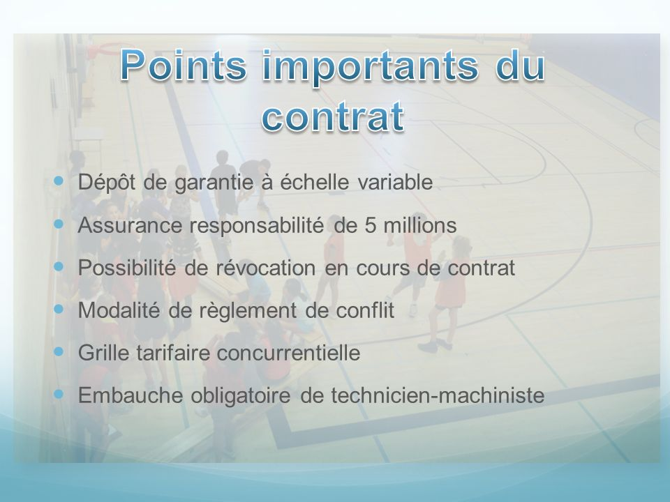 Points importants du contrat