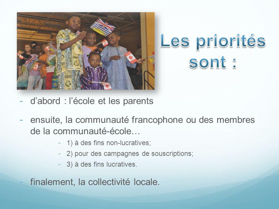 Les priorités sont : d'abord : l'école et les parents