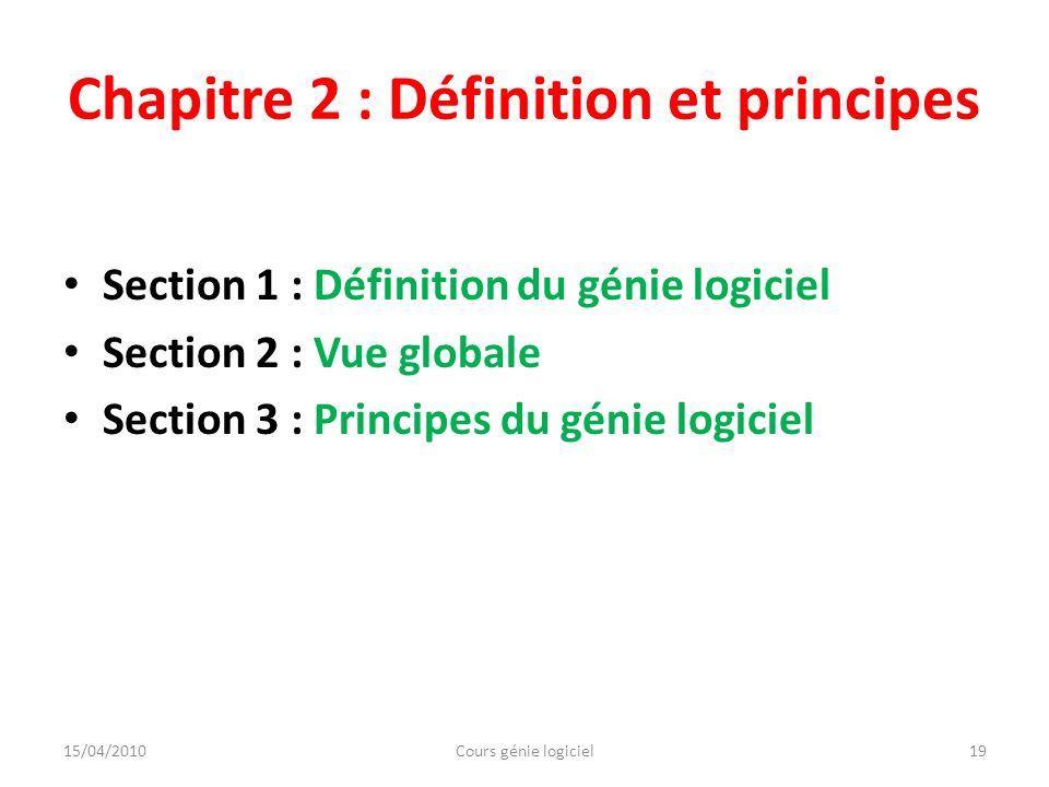 Chapitre 2 : Définition et principes
