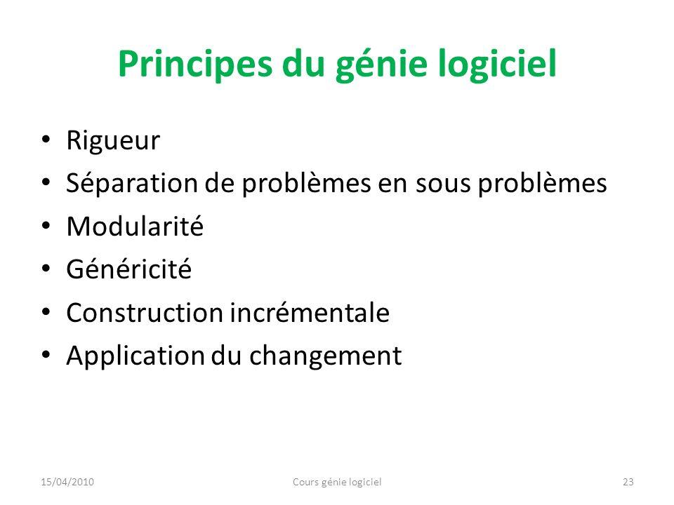 Principes du génie logiciel