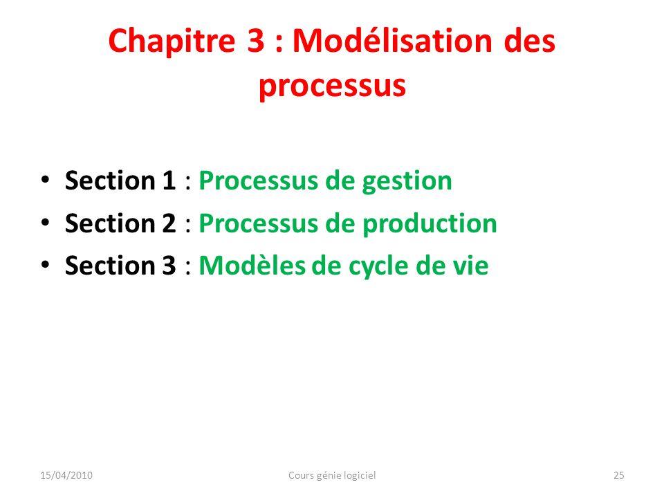 Chapitre 3 : Modélisation des processus