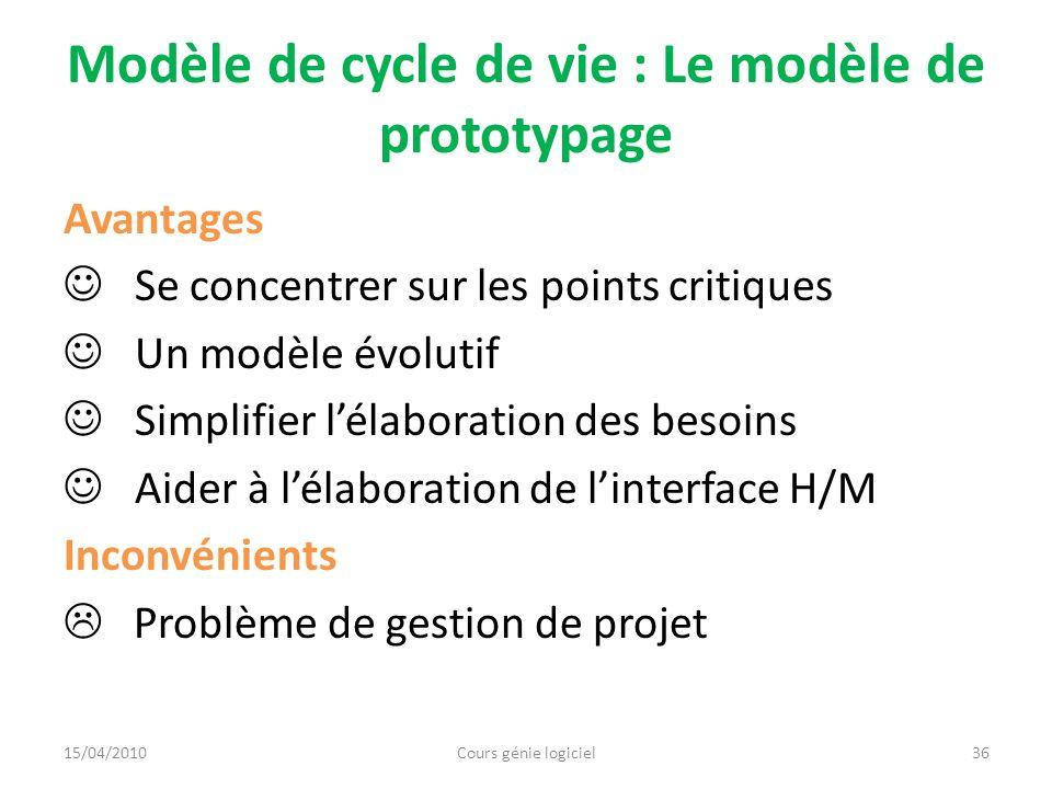 Modèle de cycle de vie : Le modèle de prototypage