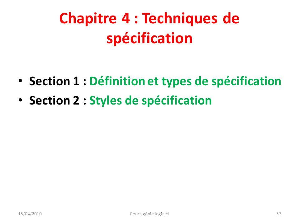 Chapitre 4 : Techniques de spécification