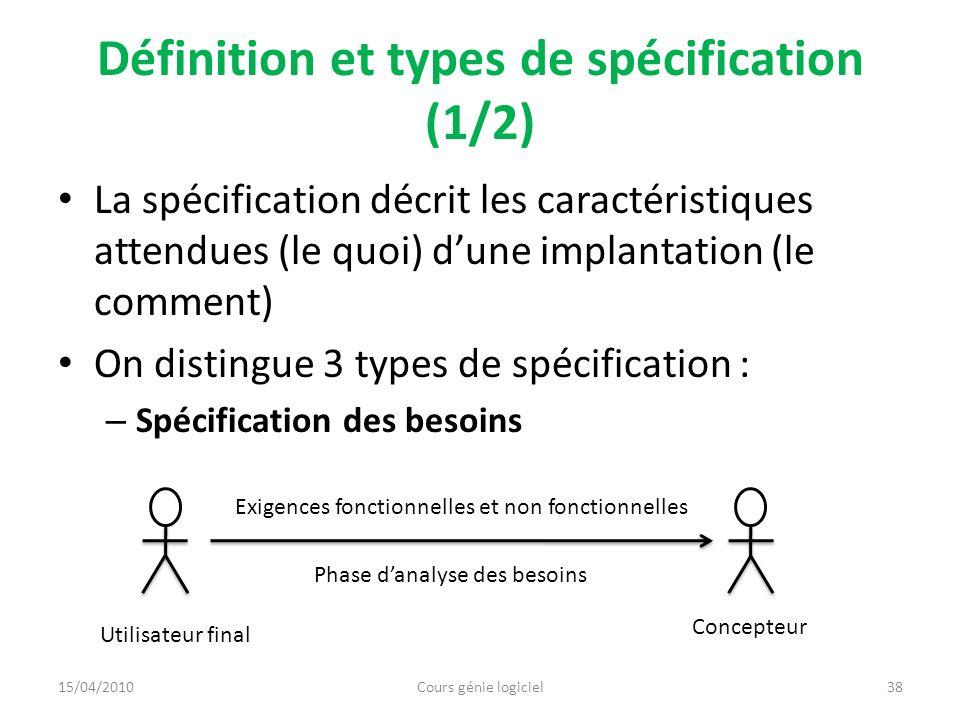 Définition et types de spécification (1/2)