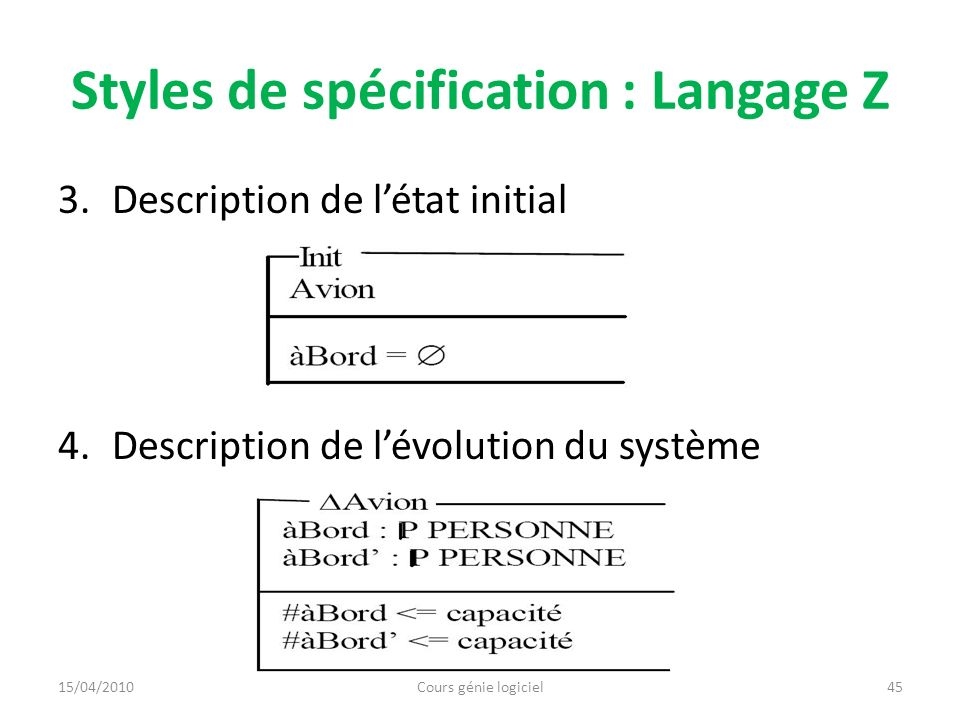 Styles de spécification : Langage Z