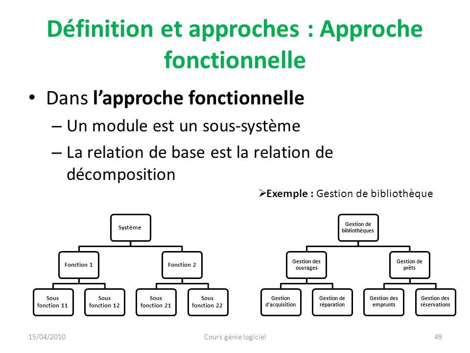 Définition et approches : Approche fonctionnelle