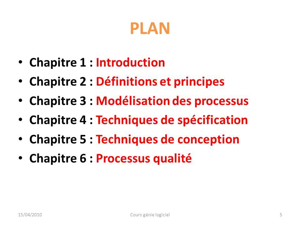 PLAN Chapitre 1 : Introduction Chapitre 2 : Définitions et principes