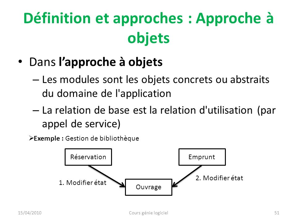 Définition et approches : Approche à objets