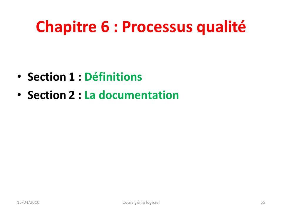 Chapitre 6 : Processus qualité