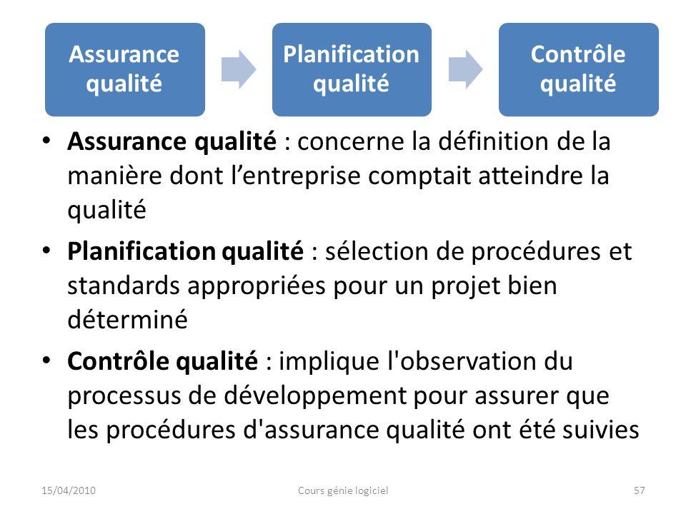 Planification qualité