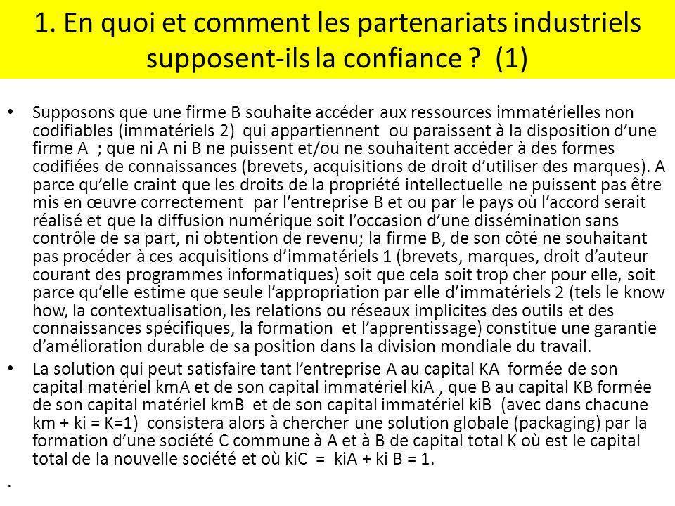 1. En quoi et comment les partenariats industriels supposent-ils la confiance (1)