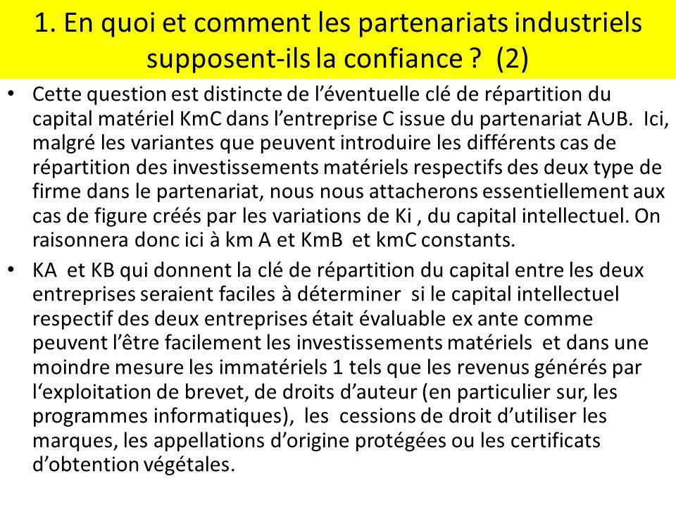 1. En quoi et comment les partenariats industriels supposent-ils la confiance (2)