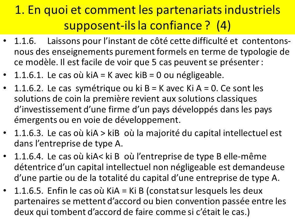 1. En quoi et comment les partenariats industriels supposent-ils la confiance (4)