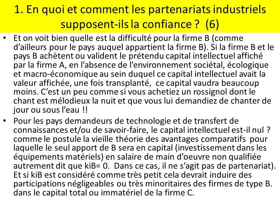 1. En quoi et comment les partenariats industriels supposent-ils la confiance (6)