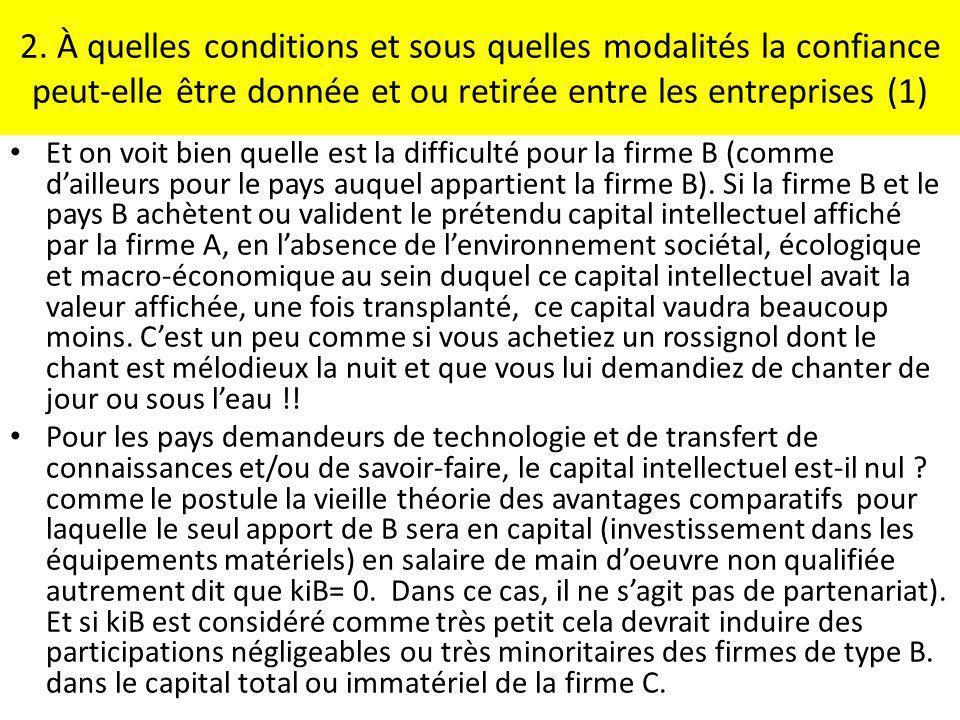 2. À quelles conditions et sous quelles modalités la confiance peut-elle être donnée et ou retirée entre les entreprises (1)