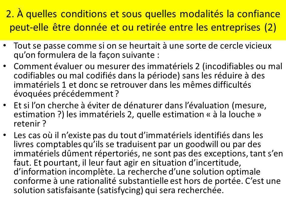2. À quelles conditions et sous quelles modalités la confiance peut-elle être donnée et ou retirée entre les entreprises (2)