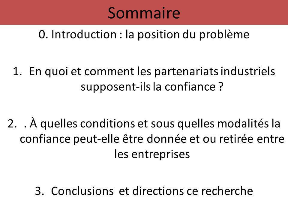 Sommaire 0. Introduction : la position du problème