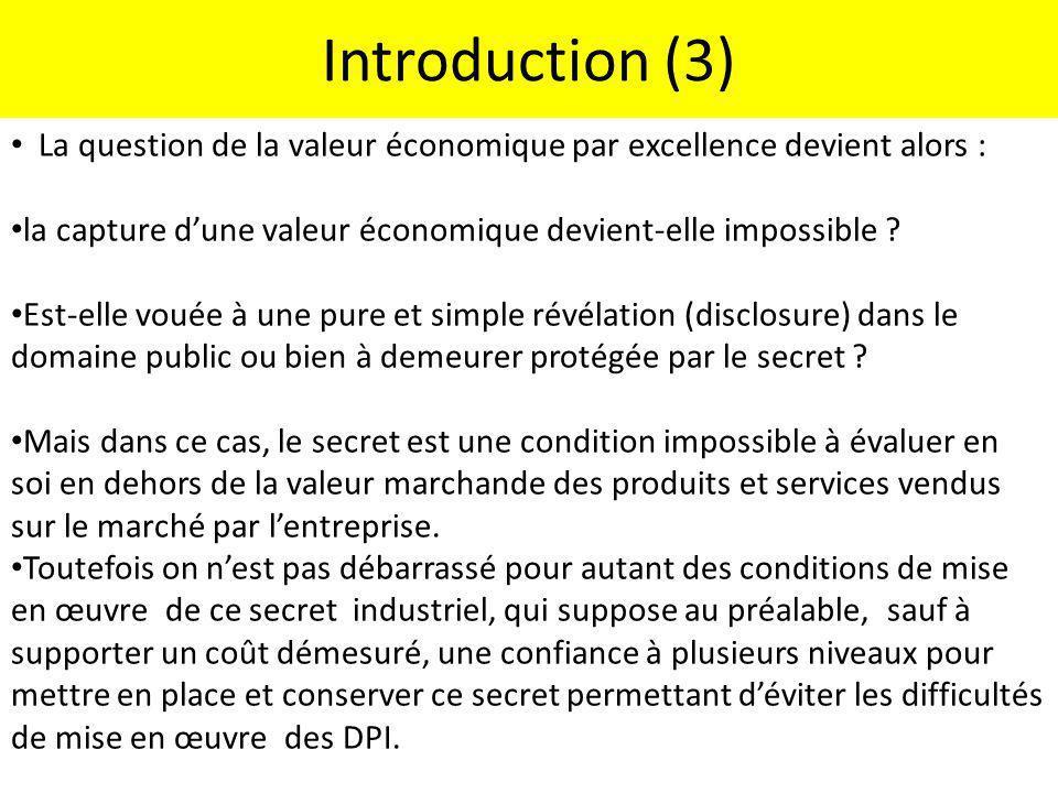 Introduction (3) La question de la valeur économique par excellence devient alors : la capture d'une valeur économique devient-elle impossible