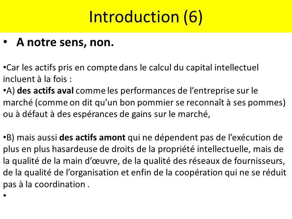 Introduction (6) A notre sens, non.