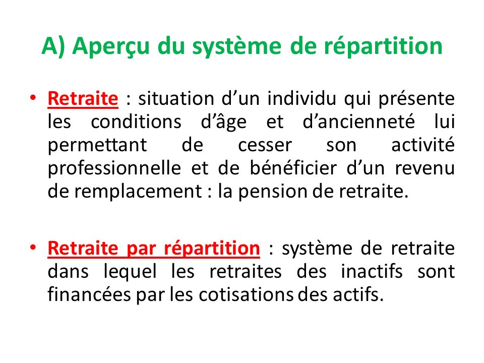 A) Aperçu du système de répartition