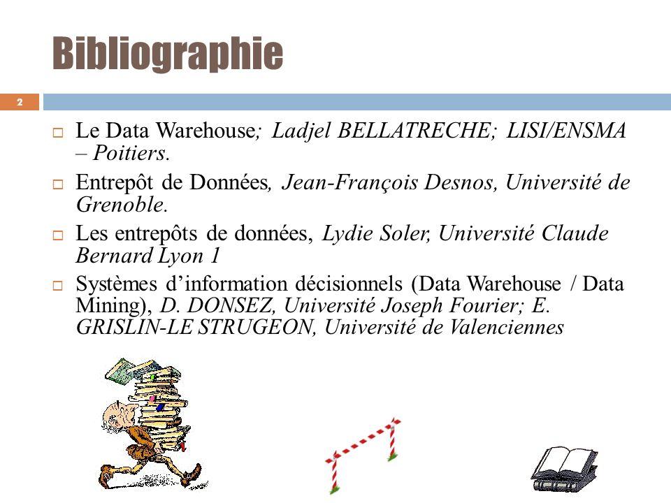 Bibliographie Le Data Warehouse; Ladjel BELLATRECHE; LISI/ENSMA – Poitiers. Entrepôt de Données, Jean-François Desnos, Université de Grenoble.