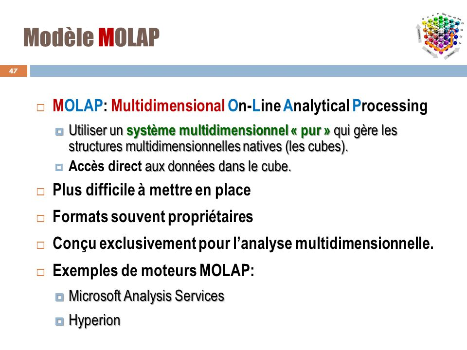 Modèle MOLAP MOLAP: Multidimensional On-Line Analytical Processing