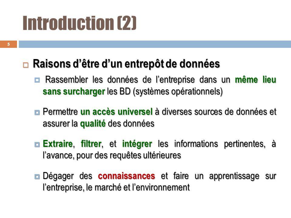 Introduction (2) Raisons d'être d'un entrepôt de données