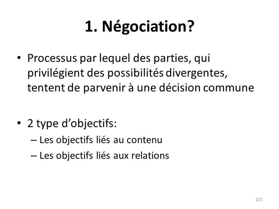 1. Négociation Processus par lequel des parties, qui privilégient des possibilités divergentes, tentent de parvenir à une décision commune.