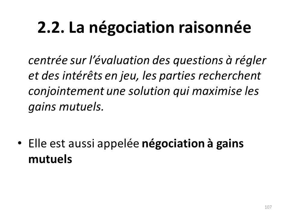 2.2. La négociation raisonnée