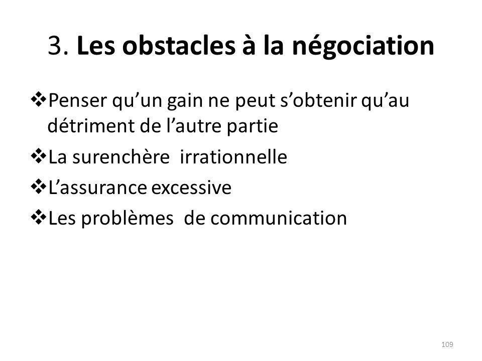 3. Les obstacles à la négociation