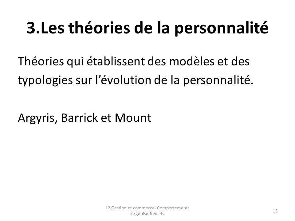 3.Les théories de la personnalité